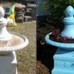 White water fountain that doesn't work, spray painted and planted in 2014.