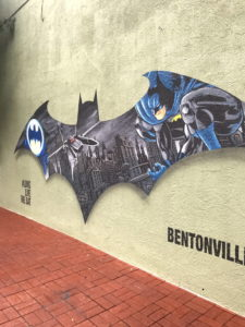 Batman mural painted on the wall of a building in Bentonville.