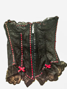 Corset for Steampunk costume being reworked to become all black instead of black and red.