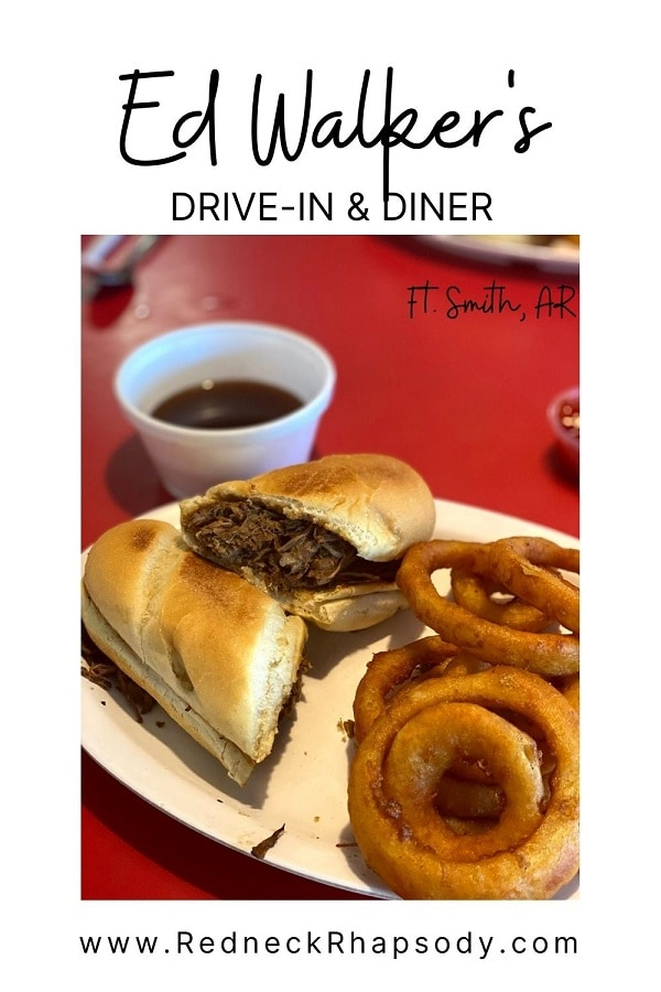 French Dip sandwich with onion rings from Ed Walker's.